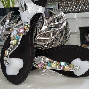 💎 Rhinestone sandals 💎 silver NIB 6.5